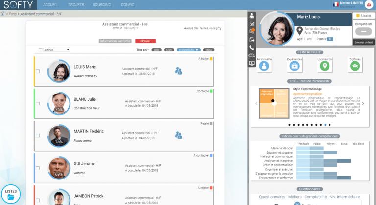 apercu de l'interface de gestion des candidatures Softy