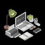 ordinateur avec le logo de softy le logiciel de recrutement