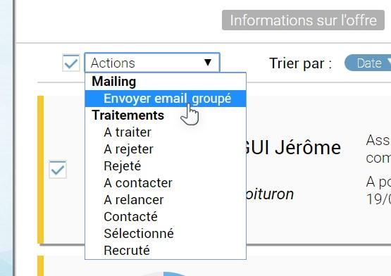 aperçu de l'envoi d'un email groupé depuis le logiciel de recrutement Softy