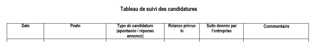 exemple de tableau de gestion des candidatures