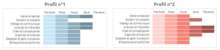 deux résultats de test de personnalité