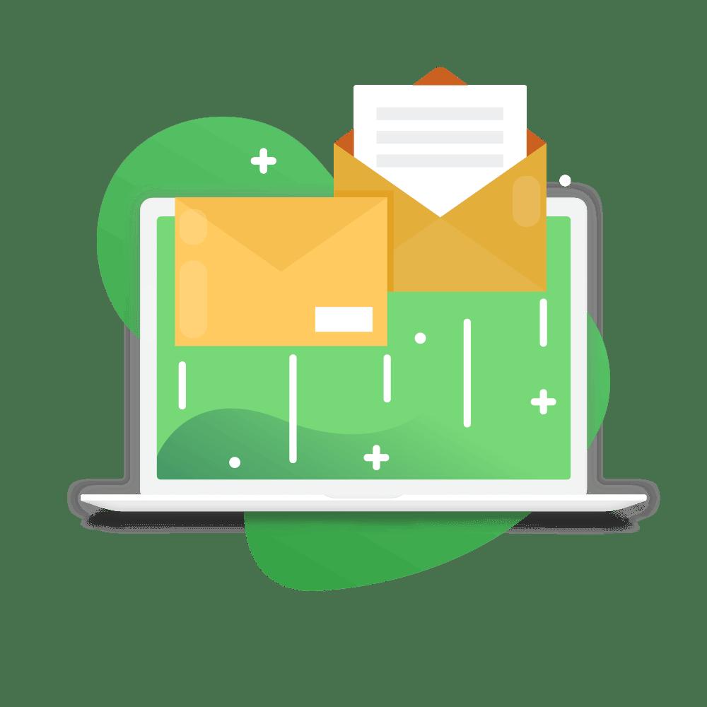 ordinateur avec courriel pour montrer l'envoi groupé sur l'ats softy