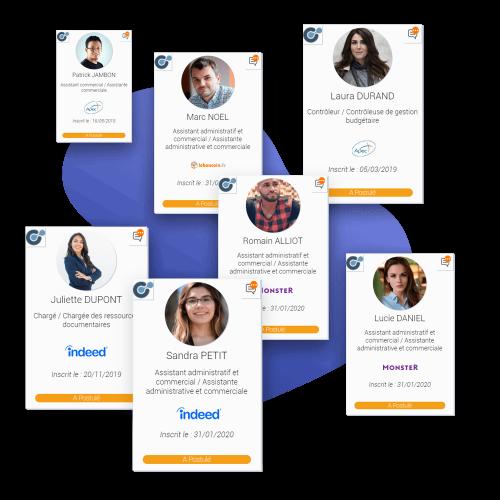 plusieurs profils disponible dans le sourcing du logiciel de recrutement softy